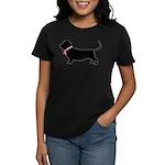Basset Hound Breast Cancer Support Women's Dark T-