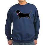 Basset Hound Breast Cancer Support Sweatshirt (dar