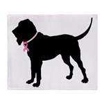 Bloodhound Breast Cancer Support Throw Blanket
