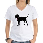 Bloodhound Breast Cancer Support Women's V-Neck T-