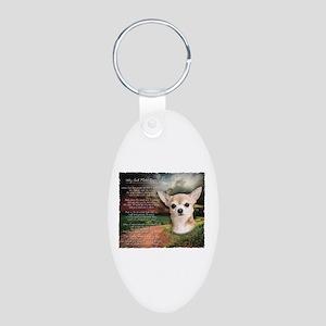 """Why God Made Dogs"" Chihuahua Aluminum Oval Keycha"