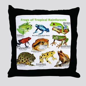 Frogs of the Tropical Rainforests Throw Pillow