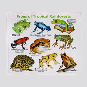 Frogs of the Tropical Rainforests Throw Blanket