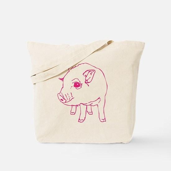 Pink Mini Pig Tote Bag