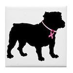 Bulldog Breast Cancer Support Tile Coaster