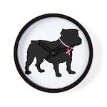 Bulldog Breast Cancer Support Wall Clock