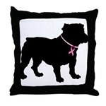 Bulldog Breast Cancer Support Throw Pillow