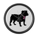 Bulldog Breast Cancer Support Large Wall Clock