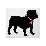 Bulldog Breast Cancer Support Throw Blanket