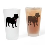 Bulldog Breast Cancer Support Drinking Glass