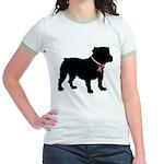 Bulldog Breast Cancer Support Jr. Ringer T-Shirt