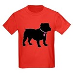 Bulldog Breast Cancer Support Kids Dark T-Shirt