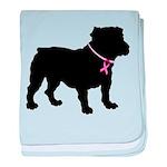 Bulldog Breast Cancer Support baby blanket