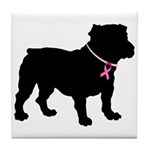 Bulldog Breast Cancer Support Tile Coaster