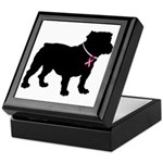Bulldog Breast Cancer Support Keepsake Box