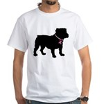 Bulldog Breast Cancer Support White T-Shirt
