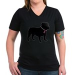 Bulldog Breast Cancer Support Women's V-Neck Dark