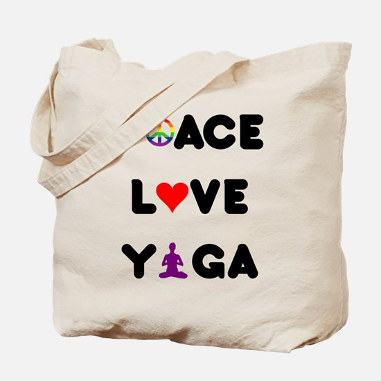Peace Love Yoga Tote Bag