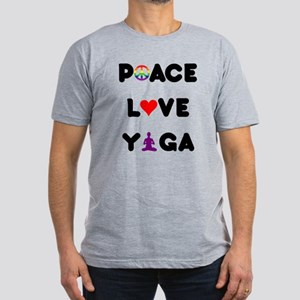 Peace Love Yoga Men's Fitted T-Shirt (dark)
