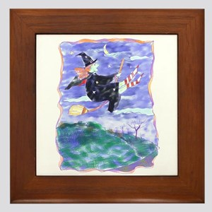 Witch Watercolor Framed Tile