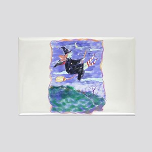 Witch Watercolor Rectangle Magnet