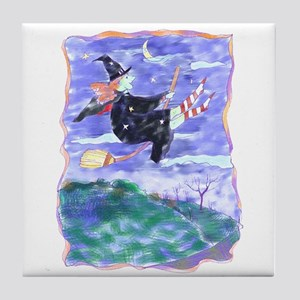 Witch Watercolor Tile Coaster
