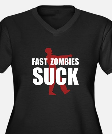 Fast Zombies Women's Plus Size V-Neck Dark T-Shirt