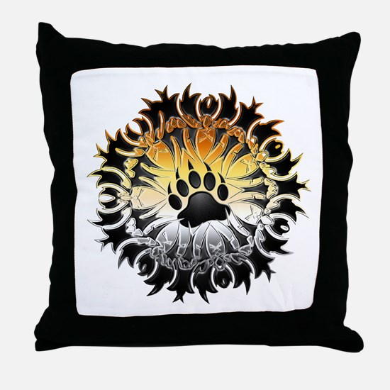 Tribal Bear Pride Paw Throw Pillow