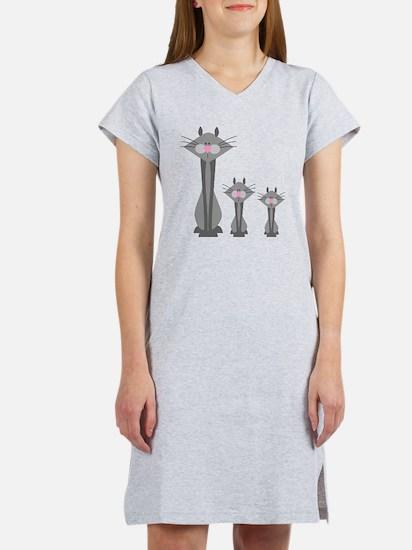 Cute Gray Kitty Cats Women's Nightshirt