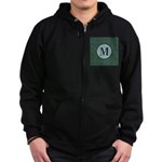 Cathedral Blue Monogram Zip Hoodie (dark)