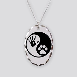 Human & Dog Yin Yang Necklace Oval Charm