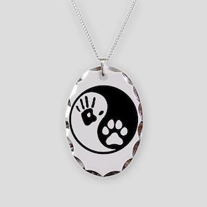 Human & Dog Yin Yang Necklace Oval Charm