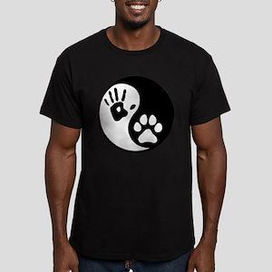 Human & Dog Yin Yang Men's Fitted T-Shirt (dark)