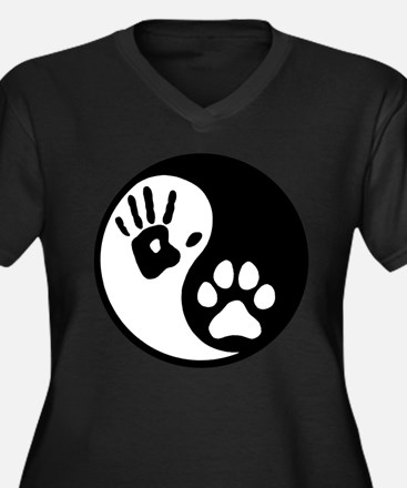 Human & Dog Yin Yang Women's Plus Size V-Neck Dark