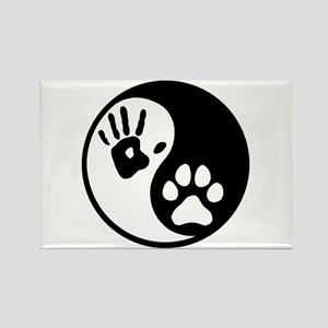 Human & Dog Yin Yang Rectangle Magnet