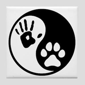 Human & Dog Yin Yang Tile Coaster