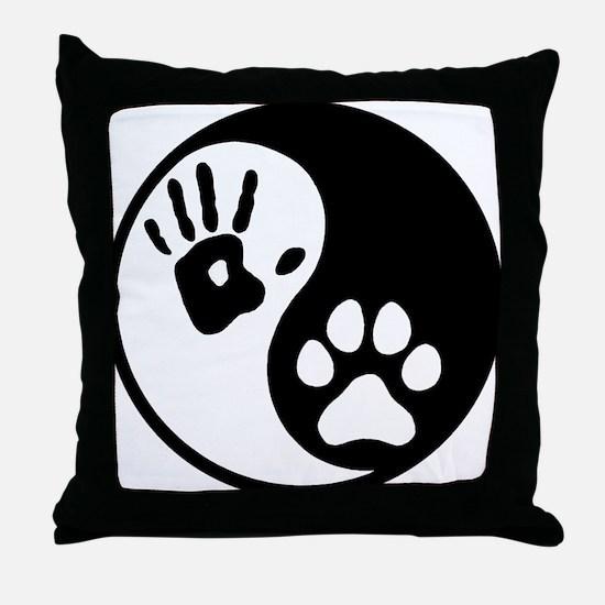 Human & Dog Yin Yang Throw Pillow