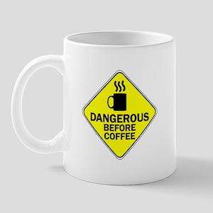 Dangerous Before Coffee Yellow Mug