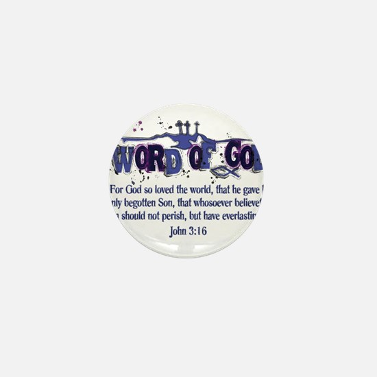 Word of God - John 3:16 - Blu Mini Button