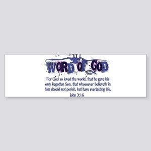 Word of God - John 3:16 - Blu Sticker (Bumper)