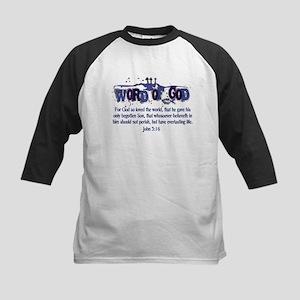 Word of God - John 3:16 - Blu Kids Baseball Jersey