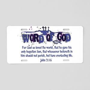 Word of God - John 3:16 - Blu Aluminum License Pla