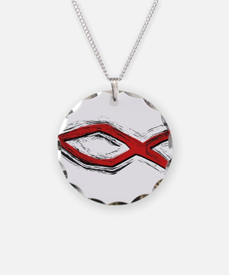 Red Fish - Ichthys - Christia Necklace Circle Char