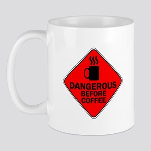 Dangerous Before Coffee Red Mug