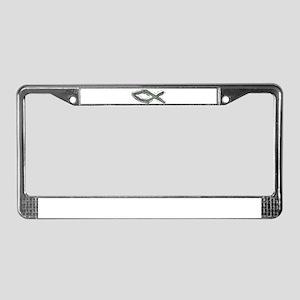 Grey Fish - Ichthys - Christ License Plate Frame