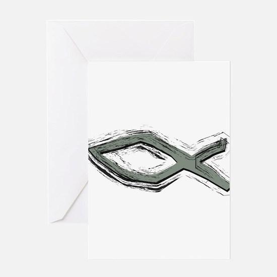 Grey Fish - Ichthys - Christ Greeting Card