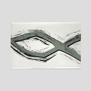Grey Fish - Ichthys - Christ Rectangle Magnet