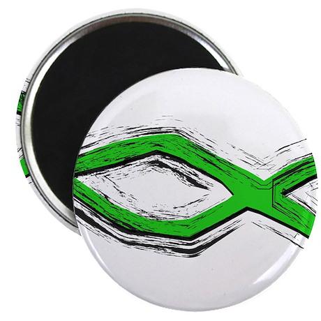 "Green Fish - Ichthys - Chris 2.25"" Magnet (10 pack"