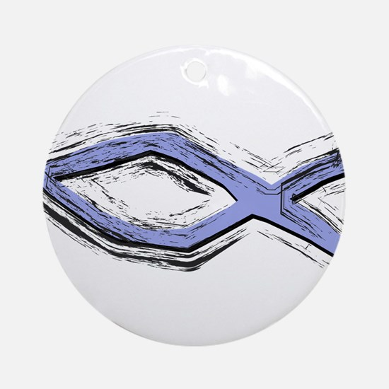 Blue Fish - Ichthys - Christ Ornament (Round)