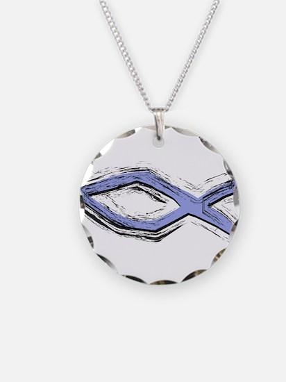 Blue Fish - Ichthys - Christ Necklace Circle Charm